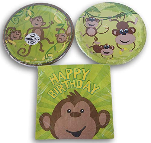 Monkey Jungle Themed Party Set - Cake Plates (16 Count) and Dinner Napkins (16 - George Curious Plates Cake