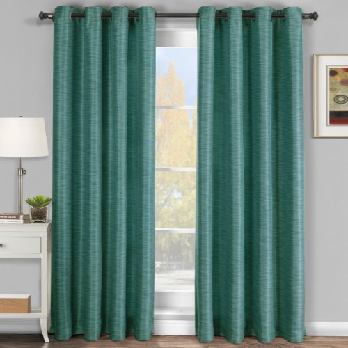 Galleria Comforter Set (Luxury Galleria Blue Grommet Blackout Window Curtain Drape, Blackout Tonal, Stripe Pattern, 54x95 inches, by Royal Hotel)