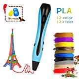 3D Printing Pen - 2019 Halloween Upgrade 3D Pen Gift with 12 Colors 1.75mm PLA Filament Refills and Stencil Safe for Kids Adults, Non-Clogging, Controllable Temperature, Auto Off, USB Charging - Blue