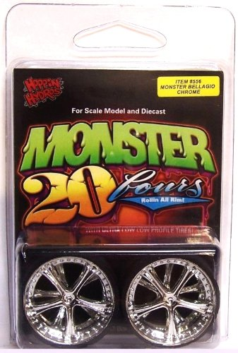 Chrome Belaggio Monster 24's Rims Wheels w/ Ultra Low Profile Tires (for Hobby Model Kits) 1/24 1/25 scale