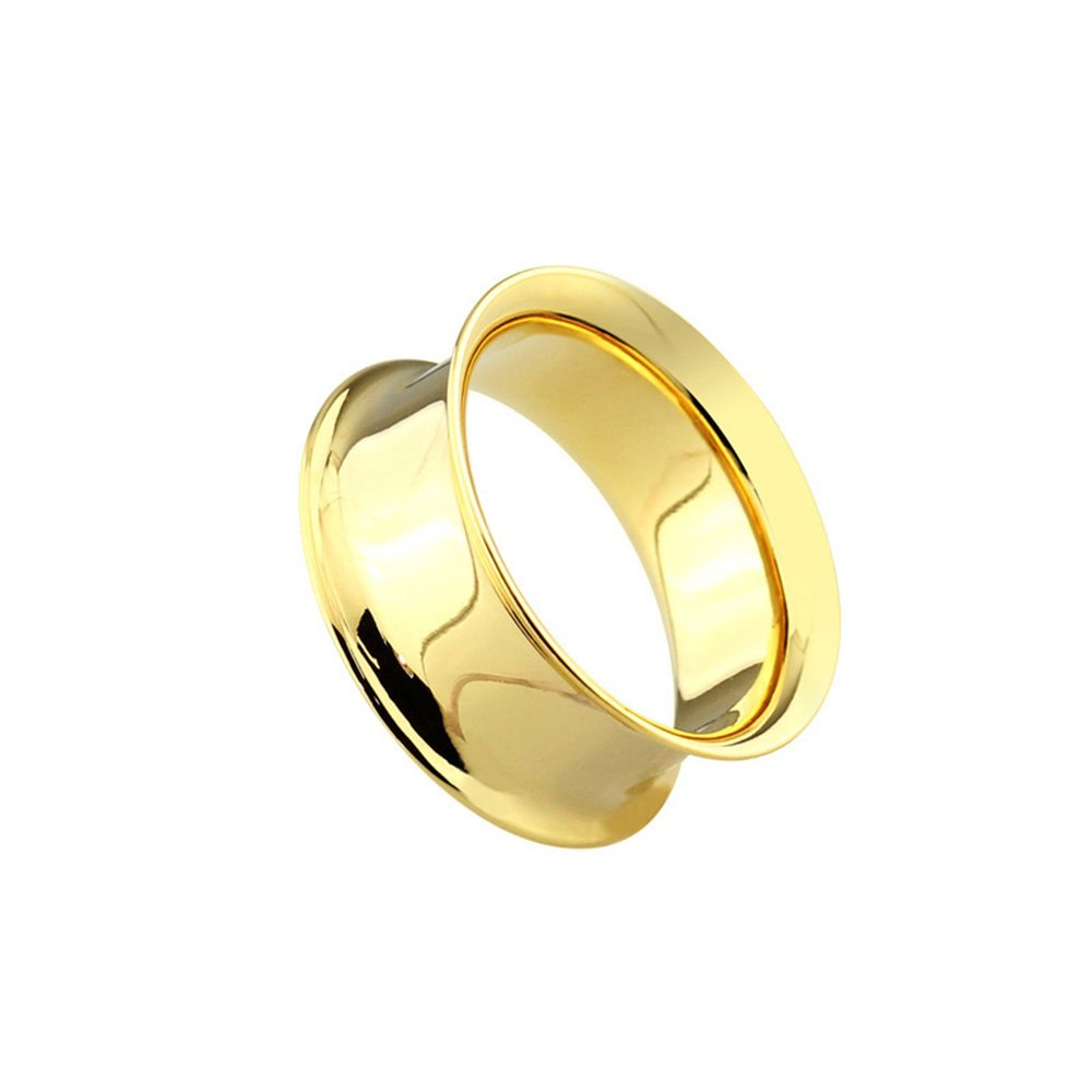 Dynamique Pair Of Double Flared Tunnels Up To 2''(50mm) Gold PVD Plated Over 316L Surgical Steel by Dynamique
