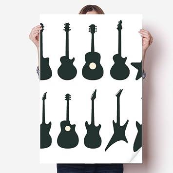 DIYthinker Guitarra eléctrica Música vitalidad Suena Pared de Vinilo Pegatinas Cartel Mural del Papel Pintado de la Etiqueta de Habitaciones 80X55Cm 80cm x ...