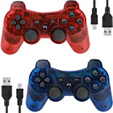 Wireless Controllers for PS3 Playstation 3 Dual Shock, Bluetooth Remote Joystick Gamepad for Six-axis with Charging Cable,Pack of 2 (ClearRed and CLearBlue1)