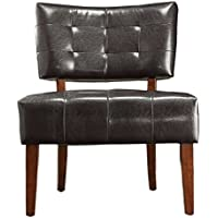 TRIBECCA HOME Charlotte Unique Faux Bonded Leather Armless Accent Deep Button Tufted Chair Black Brown