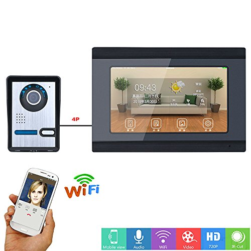 MOUNTAINONE 7inch Wired/Wireless Wifi Video Door Phone Doorbell Intercom Entry System with IR-CUT HD 1000TVL Wired Camera