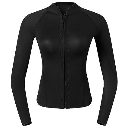 9fc0138cf3 Prettyia Premium 2mm Neoprene Women Ladies UV Sun Protection Wetsuit Top Long  Sleeve Front Zipper Jacket