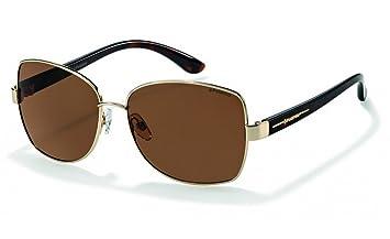 Polaroid P4413B polarisé femmes de marque '' s Gold Frame arrondi carrés lunettes de soleil écaille brun bras en plastique Brun Lens 100 % UV 400 Protection & anti-reflets CAT 3 2G3CbYHiG0