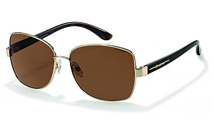 Marca Polaroid P4413B polarizado mujeres s oro marco redondeado Plaza gafas de sol marrón