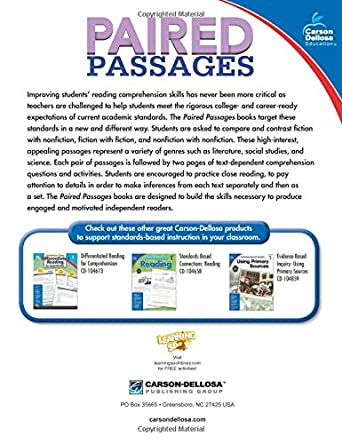 Paired Passages, Grade 1: Jeanette Ritch: 0044222250713: Amazon ...