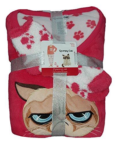 Vermont Coral - Fashion Grumpy Cat Coral 3 Piece Fleece Pajama Sleep Set w/Socks - 3XL