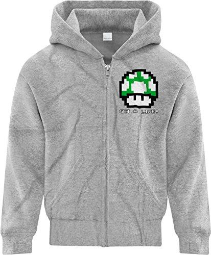 BSW Boy's Get A Life 1UP Mushroom Vintage 8bit Mario Bros Zip Hoodie SM Grey