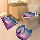 3 Piece large Contour Mat setAnd Lonely Tree Nasa Furnished Elements Artwork Print Extralong Bathroom Rugs Contour Mat Lid Toilet Cover