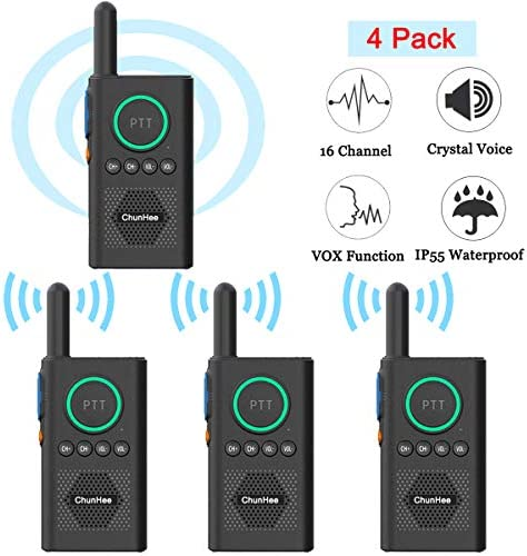 Chunhee Wireless Intercom System for Elderly Kids, Home Intercom System Room to Room Communication, 1.5 Miles Long Range 16 Channel Intercom System for Home Office Camping Hiking Vacation 4 Pack