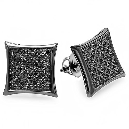 0.21 Carat (ctw) 14K White Gold Real Black Diamond Black Plated Kite Shape Men's Hip Hop Iced Micro Pave Stud Earrings 1/4 CT by DazzlingRock Collection
