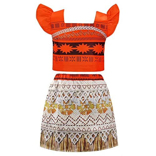 AmzBarley Moana Costume for Girls Dress up Toddler Baby Cosplay Outfit Little Kids Skirt Sets