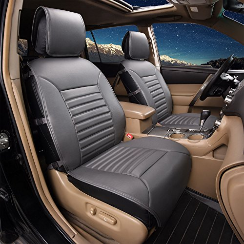 FH Group PU206102 Multifunctional Quilted Leather Seat Cushions Pair Set, Gray Color- Fit Most Car, Truck, Suv, or Van