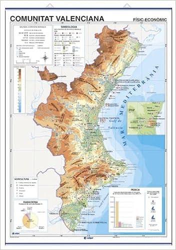 Mapa Fisico Comunitat Valenciana.Mapa Mural Comunitat Valenciana Impres A Doble Cara Fisic Economic Politic Embarnillat Amb Penjadors I Tub 100 X 140 Cm Amazon Es Edigol Ediciones Libros