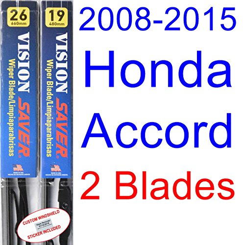 Honda Accord Windshield Replacement (2008-2015 Honda Accord Replacement Wiper Blade Set/Kit (Set of 2 Blades) (Saver Automotive Products-Vision Saver) (2009,2010,2011,2012,2013,2014))
