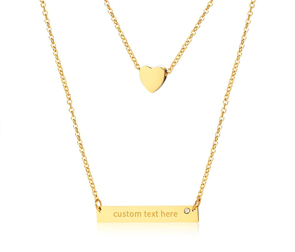 Mealguet Jewelry Stainless Steel Gold Plated Customize Name Horizontal Bar and Tiny Heart Two Layered Layering Necklace for Women