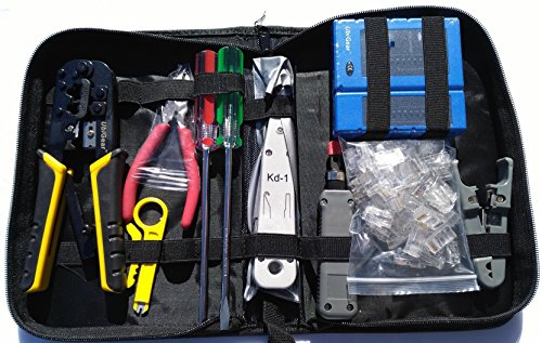 UbiGear Cable Tester +Crimp Crimper +50 pcs RJ45 CAT5e Pass-Through Connector Plug Network Tool Kits (Premium568)