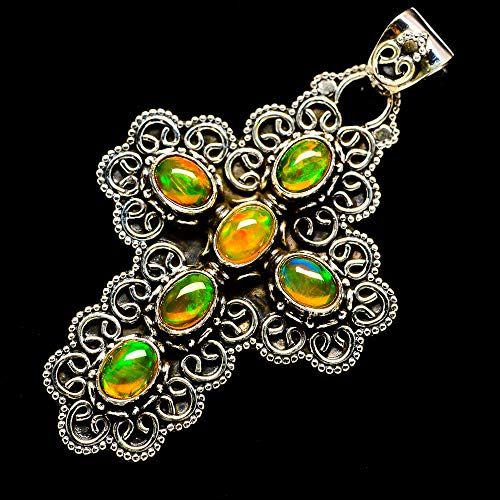 Ana Silver Co Natural Ethiopian Opal Cross 925 Sterling Silver Pendant 2 1/2