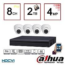 Dahua 4MP Tribrid Security Package: 8CH 4MP Tribrid (HCVR7108H-4M) (CVI/IP/Analog ) + (4) 4MP (HAC-HDW1400M) Outdoor HDCVI IR Eyeball Dome Camera w/2TB Security Hard Drive Installed