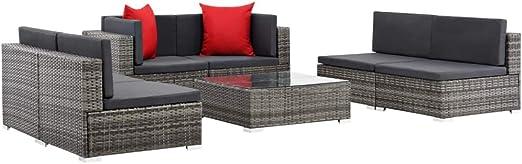 SOULONG Conjunto Muebles de Jardín de Ratán 7 Piezas,Sofa de Esquina Exterior para Jardín Terraza Patio,Cojines Extraíbles,Poli Ratán Gris: Amazon.es: Hogar