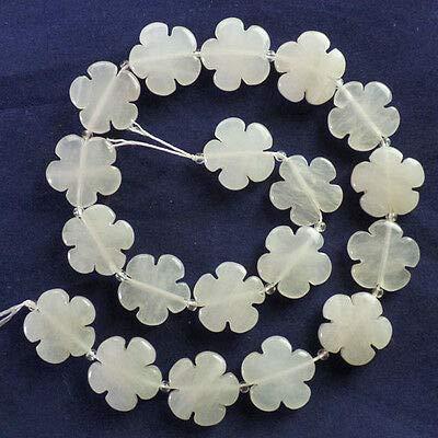 FidgetKute A Strand Carved Mixed Stone Flower Loose Bead 15.5 inch Lx50(Randomly Send) White Jade