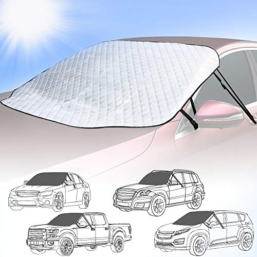 SEG Direct Universal Car Windshield Sunshade, Snow Cover, Fits Cars SUVs MPVs Pickup Trucks Vans, All Season Protector - Reflects Sunlight and Prevents Snow Build-up, Extra-Large