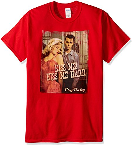 Trevco Unisex-Adults Cry Baby Kiss T-Shirt, Red, X-Large
