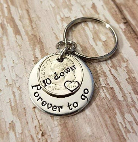 10 Down and Forever To Go on a 2008 Silver Dime 10th Anniversary Key Chain Gift