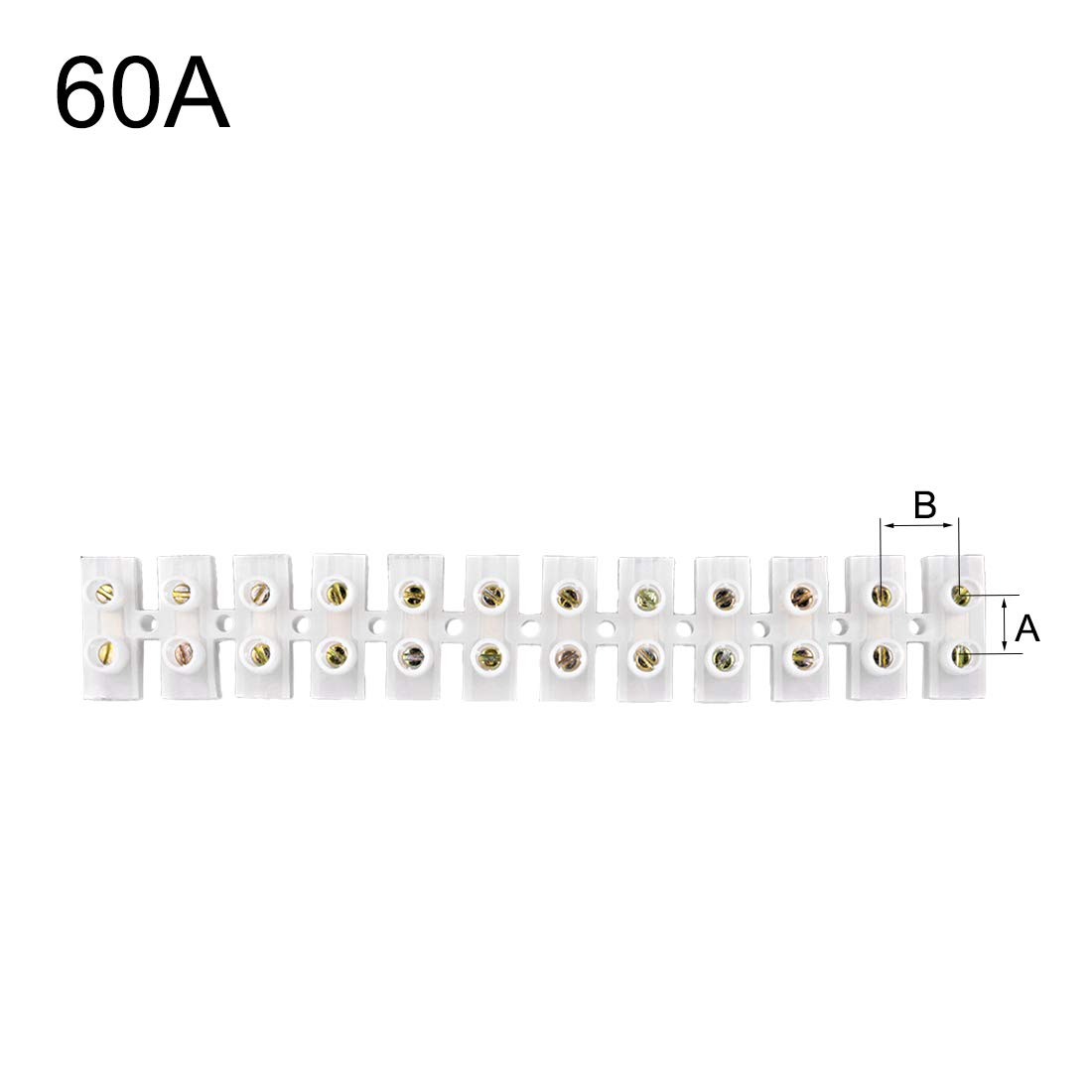 uxcell Screw Terminal Block Barrier Terminal Strip 10A 12 Position Dual Row Type H Wire Connector 5pcs