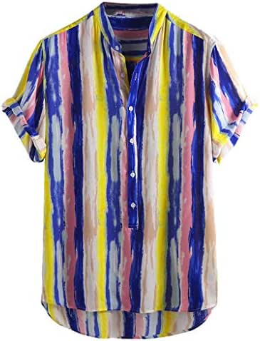 Beautyfine Men's Cotton Printed Hawaiian Shirts Stand Collar Short Sleeve Loose Tops
