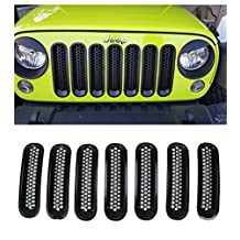 E-cowlboy Front Grill Mesh Grille Insert Kit for Jeep Wrangler Jk Sahara Sport Rubicon Unlimited X X-s Mountain Islander Wilys Wheeler Polar Freedom 2007-2016 (Black)