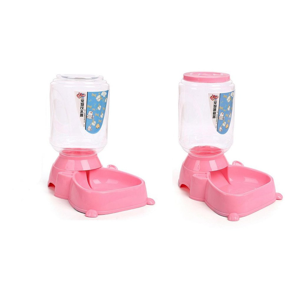 WW Pet Feeder And Waterer Gravity Automatic Drinker 4L Cats Dogs Food Bowl Water Bowl Penguin Type (2 Pieces)