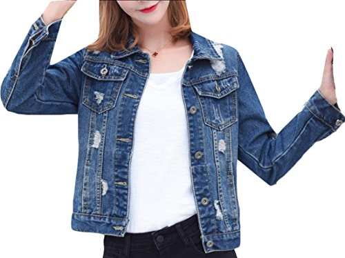 Generic Women's Fashion Long Sleeve Ripped Hole Short Wild Denim Jacket 7