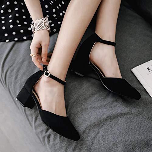 Bout à Femme à cheville Élégant Chaussures pointu la talons Chaussures fermé Vitalo aiguilles Boucle confortables bout noires Sangle v0q1dw0E