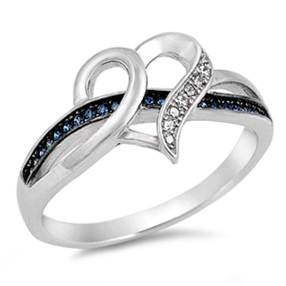 CloseoutWarehouse Simulated Sapphire and Clear Cubic Zirconia Open Heart Ring Sterling Silver