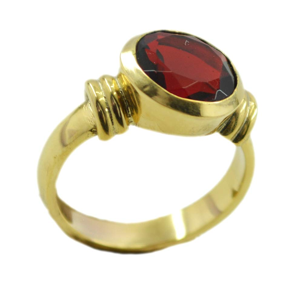 Jewelryonclick Red Round Ruby CZ Statement Rings Gold Plated Handmade Bezel Setting Available Sizes 5-12