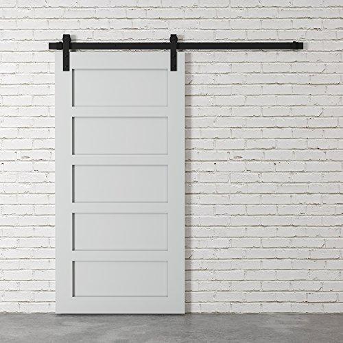 "83"" Gray and Black Urban Woodcraft 5-Panel Sliding Wood Barn Door"