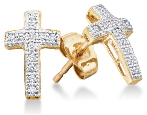 - 10K Yellow and White Two Tone Gold Micro Pave Set Round Diamond Cross Stud Earrings with Push Back Closure - (1/10 cttw)