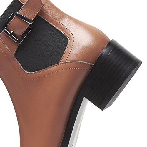 las mujeres tobillo cuero de de manera elástico cortas la genuino 37 Botas brown BLACK 40 de de NSXZ qOtHFw7Yx