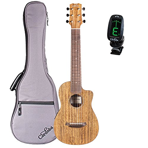 Cordoba Mini O-CE Travel Acoustic-Electric Nylon String Guitar With Cordoba Gig Bag and Clip-on Tuner