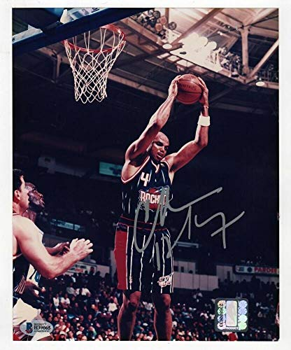 - Charles Barkley Signed Photo 8x10 Autographed Rockets Beckett BAS H39065
