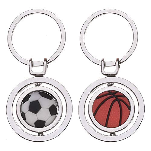 Feeko Keychain, 2pcs Creative Car Metal Pendant Key Ring Keychains Rotating Basketball Football Keyring Unisex Suitable for Birthday Souvenir -