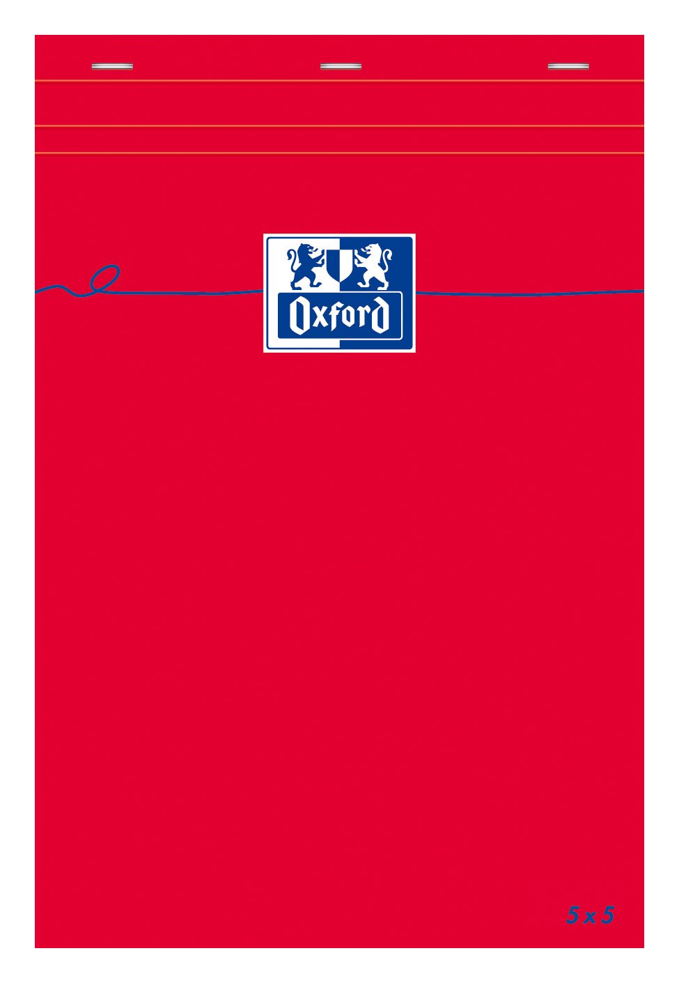 Pack of 5 Oxford notepad with small 5 x 5 Squares 160 pages A5 Red