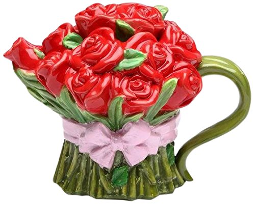 CG 20807 8 Oz Ceramic Red Rose Bouquet Teapot Wrapped in Pink Ribbon