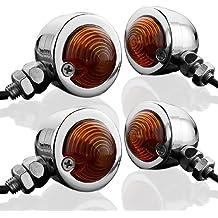 4x Chrome Billet Aluminum Bullet Design Turn Signal Amber Light Universal Motorcycle Cruiser Bobber Chopper Touring