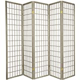 Oriental Furniture 6 ft. Tall Window Pane - Special Edition - Grey - 5 Panels