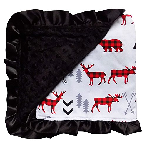 So Sydney Reversible Soft Textured Minky Dot Baby Infant Blanket with Satin Trim (Red & Black Arctic Plaid)